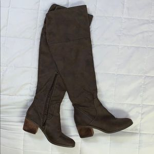 Report Over the Knee Brown Suede Heeled Boots